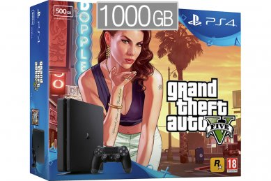 PlayStation 4 Slim 1000GB + GTA 5 (PS 4 Slim 1TB - novo)